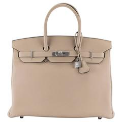 Hermes Handbag Birkin 35 Togo Leather Gray Tourterelle Palladium Hardware 2016.