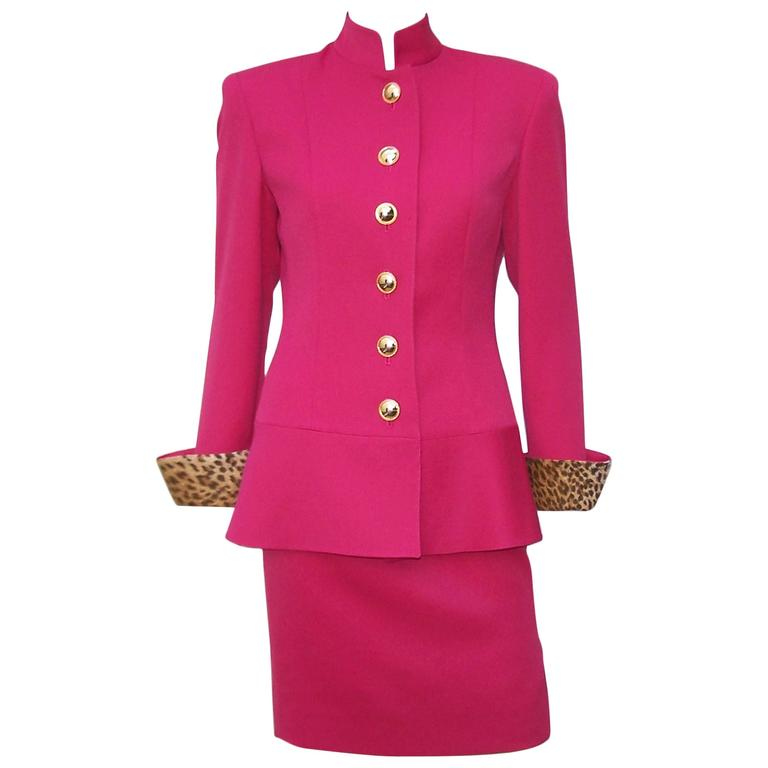 C.1990 Raspberry Red Valentino Dress Suit With Cheetah Print Vents & Cuffs