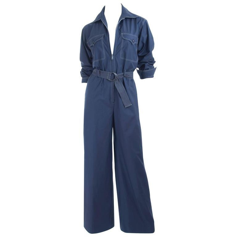 RARE Vintage 1970 Yves Saint Laurent Jumpsuit Navy with Contrast Stitching 1