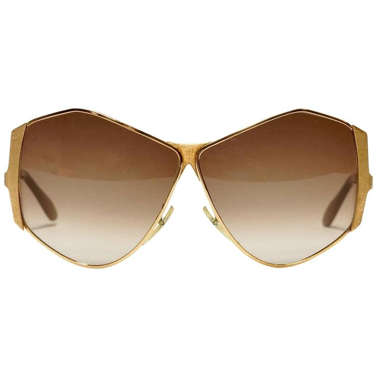 1970s Neostyle Gold Metal Vintage Sunglasses - model Tinair 1