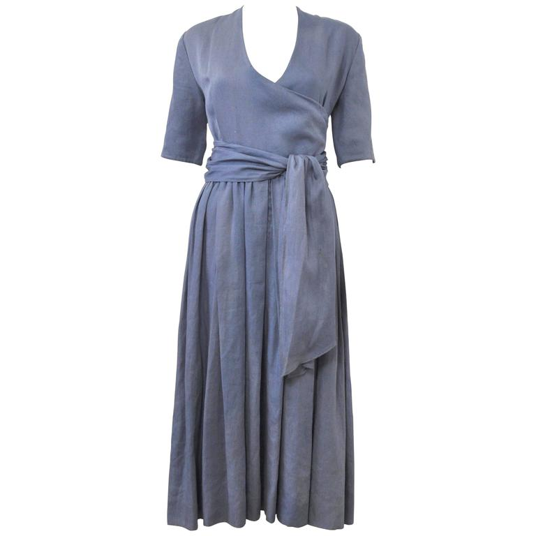 c.1980 Hermes Linen Light Blue Tea Dress with Wrap Belt  1