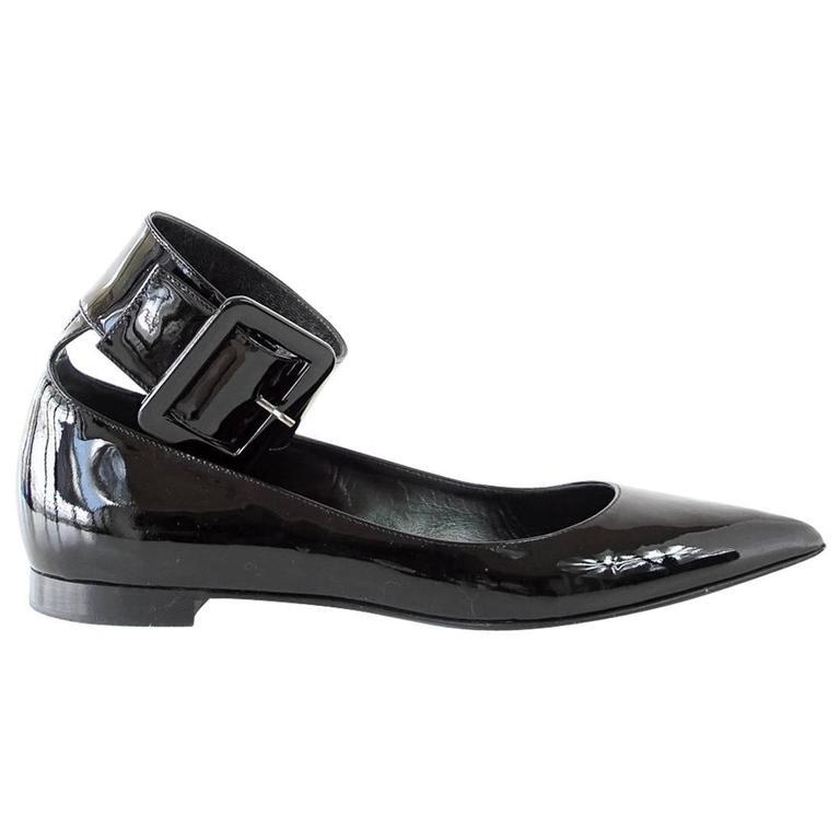 SAINT LAURENT Shoe Patent Ankle Strap Pointed Toe Ballet Flat  39 / 9