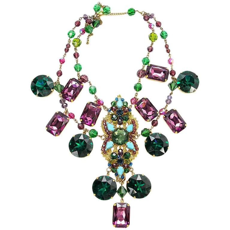 ERICKSON BEAMON Necklace Vintage Faceted Emerald Amythest  Turquiose For Sale