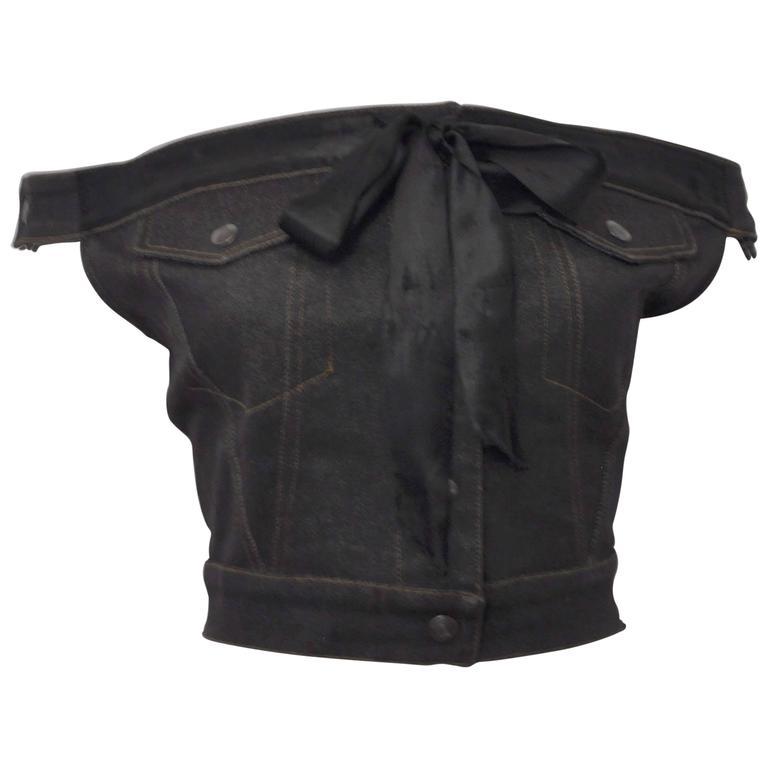 1987 Jean-Paul Gaultier Junior  deconstructed 'Victorian Jean Jacket' corset top 1