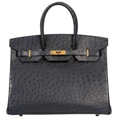 NEW Birkin 35 Ostrich Blue Indigo with gold hardware. SHIPPING INCLUDED