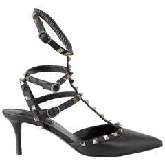 VALENTINO Shoe Black Strappy Rockstud Triple Ankle Straps 39 / 9