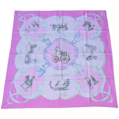 Hermes Silk Scarf Vintage Les Jouets Mobiles Moving Toys Pink 90 cm RARE