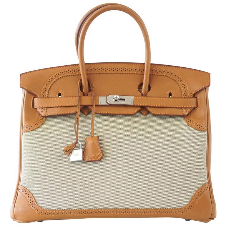 Hermes Birkin 35 Bag Ghillies Barenia Toile Palladium Rare  1