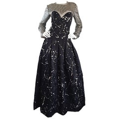 Ann Lawrence Couture Vintage Size 12 Black and Silver Hand Painted Gown