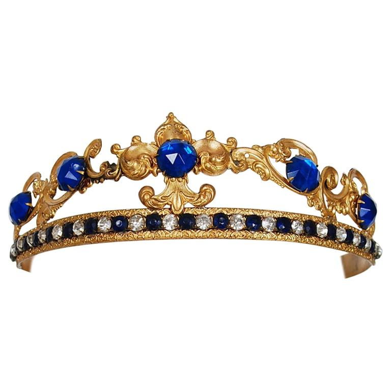 1920's French Fleur-De-Lis Blue Jeweled Gold Brass Deco Flapper Tiara Headpiece For Sale
