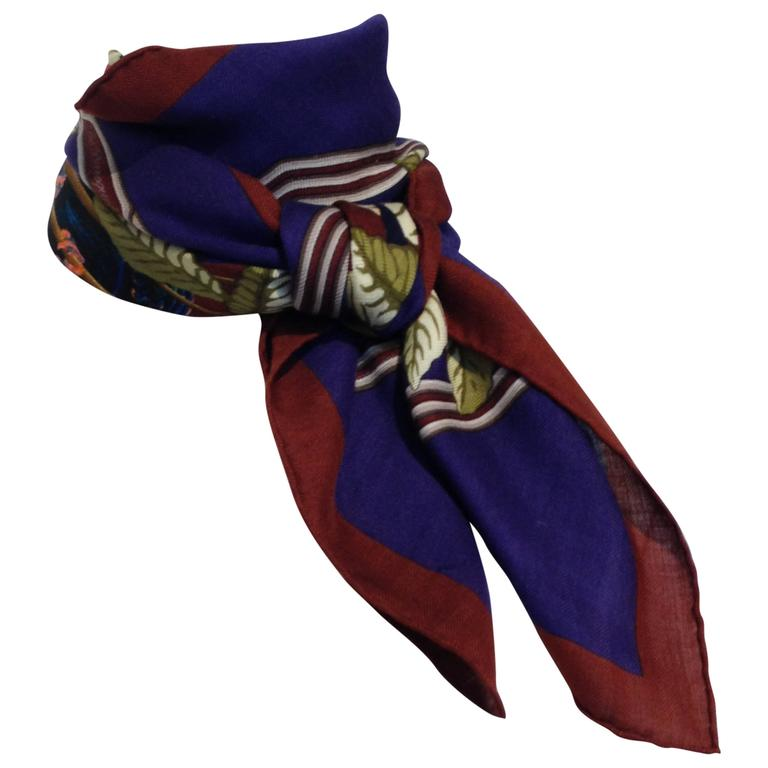 Hermes Cashmere and Silk Les Perroquets Scarf 90cm For Sale