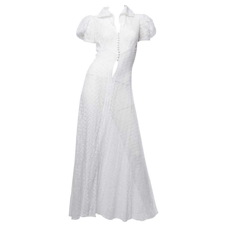 1930s Embroidered Cotton Lace Dress