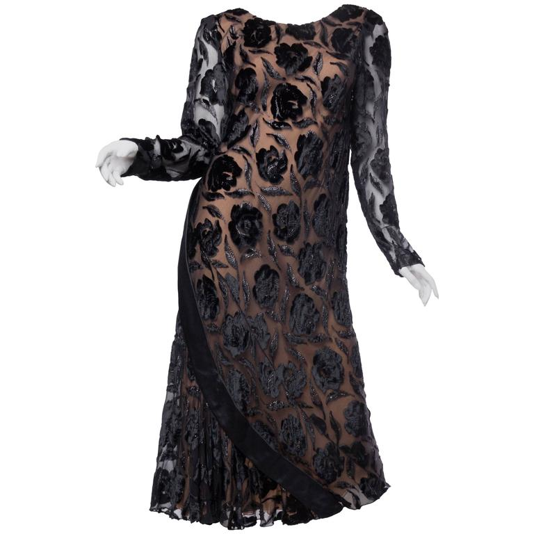 Late 1970s Stavropoulos Velvet and Lurex Burnout Dress For Sale
