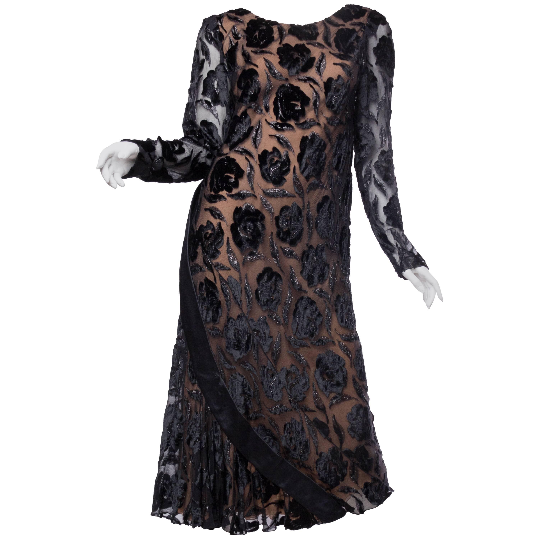 1970S STAVROPOULOS Black Bias Cut Silk Lurex Burnout Velvet Cocktail Dress With