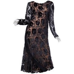1970S STAVROPOULOS Black Bias Cut Silk Lurex Burnout Velvet Cocktail Dress With