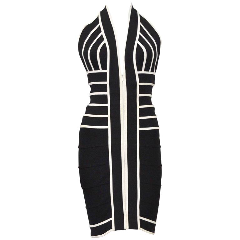 1990s Herve Leger Couture sexy black and white bandage halter-neck dress 1