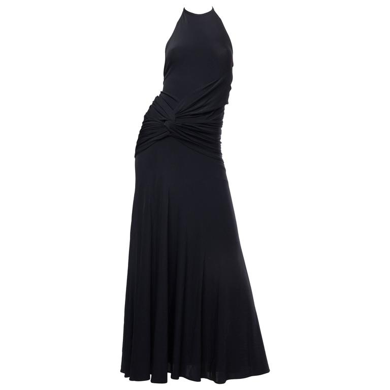 1990s Donna Karan Jersey Backless Gown
