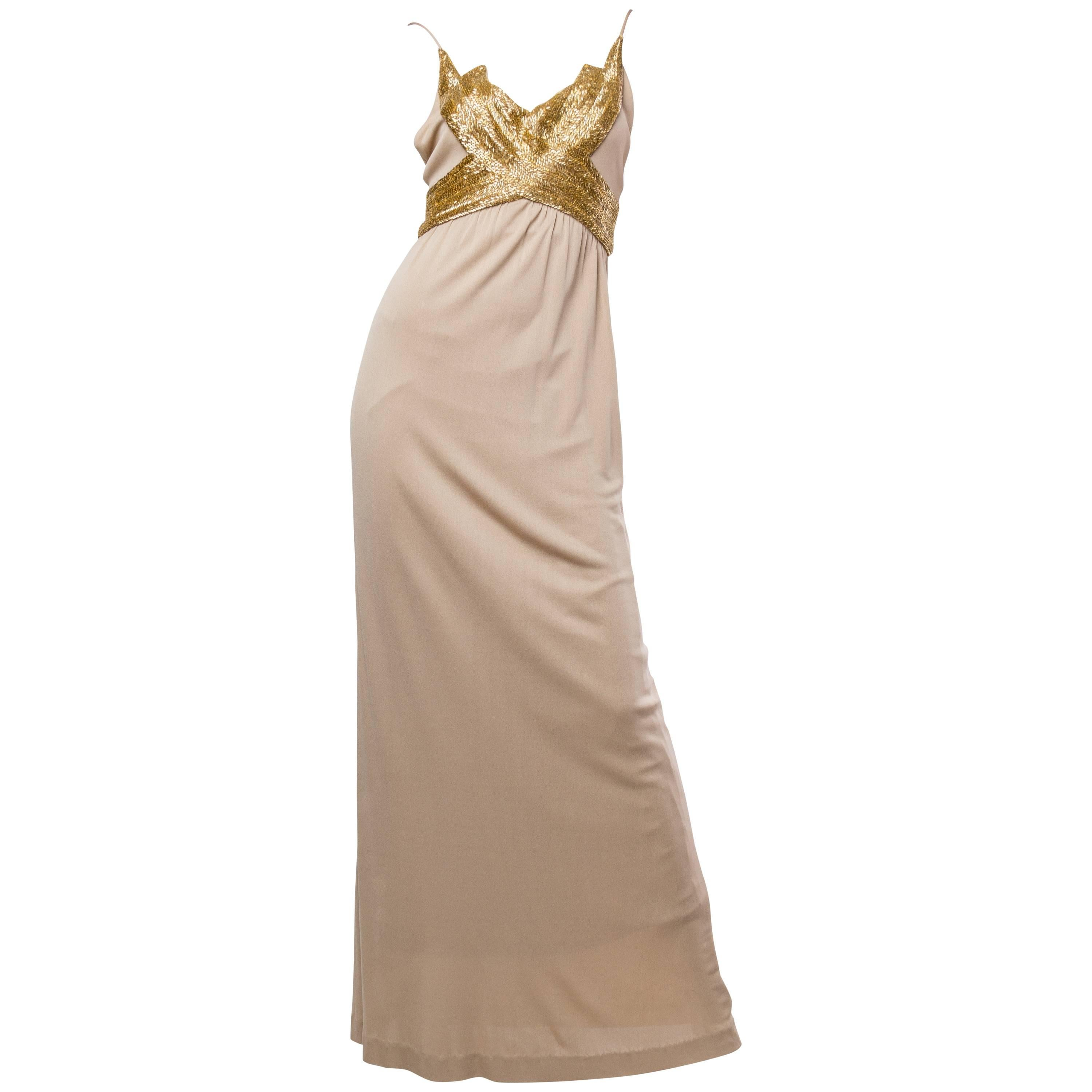 1970S  Champagne & Gold Silk Jersey Gown