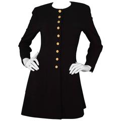Chanel Vintage Black Button-Down Coat Dress with Pleats at Back