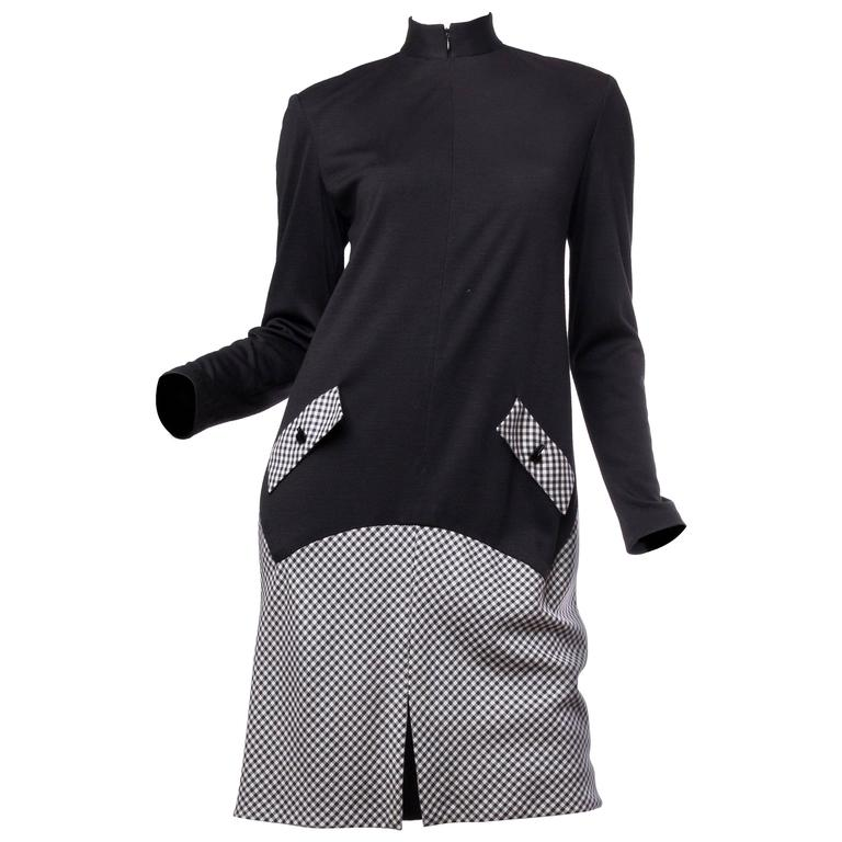 Geoffrey Beene Black Wool and Gingham Minimalist Dress