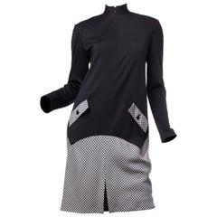 1990S Geoffrey Beene Black Wool Jersey & Rayon Blend Gingham Minimalist Dress