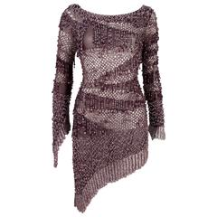 Julien Macdonald couture beaded knitted mini dress, circa 2004