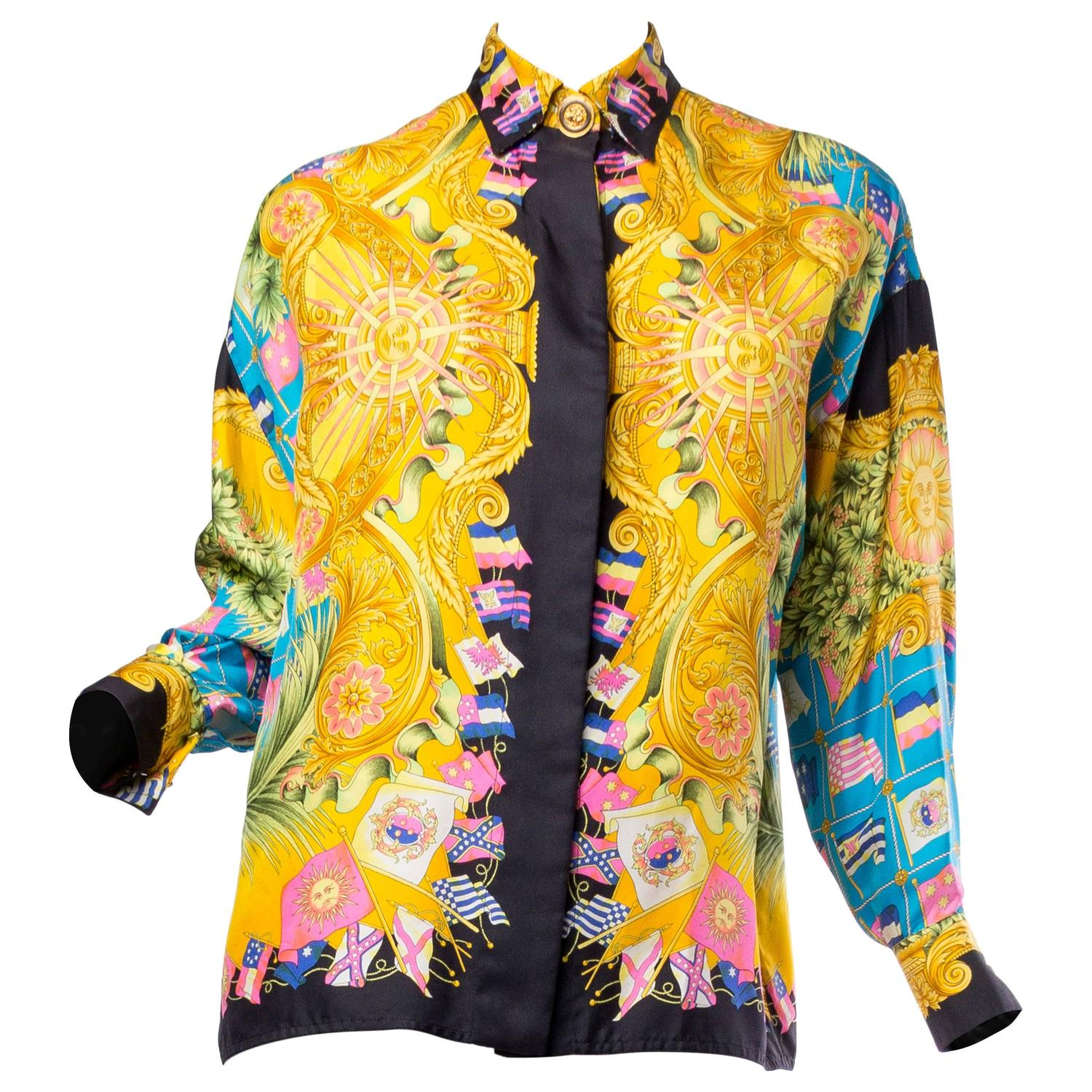 Gianni versace couture women 39 s printed silk blouse for for Versace style shirt mens