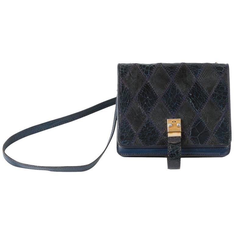 Navy Leather Patches Clutch