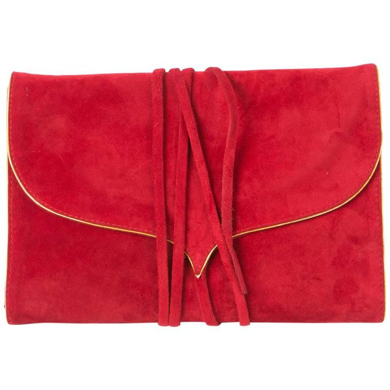 Andrea Pfister Red Suede Clutch