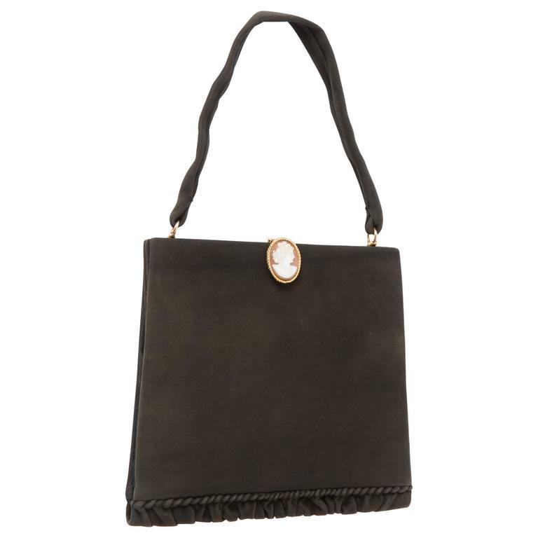 Collector 1950s Black Delvaux Handbag Cameo  For Sale