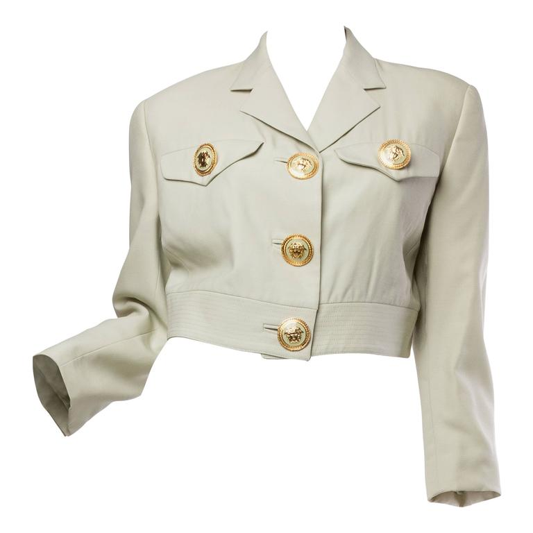 Gianni Versace Couture Pastel Medusa Button Jacket For Sale