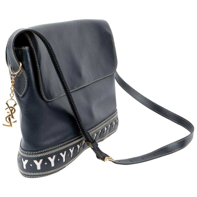 1990s Saint Laurent Iconic Navy Leather Shoulder Bag