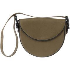 1980s Saint Laurent Khaki Leather Shoulder Bag