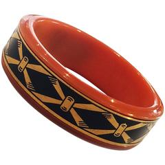 1920s Bakelite Cosmetic Compact bracelet by Marlowe