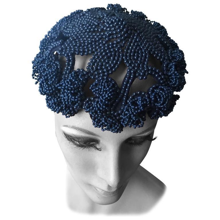 Bes-Ben  NavyBlue Beaded Hat 1959