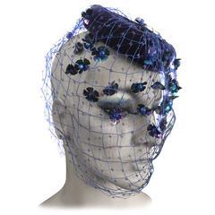 Bes-Ben Blue Velvet Hat with Embellished Veil