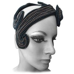 Bes-Ben Brown and Black Beaded Hat 1957