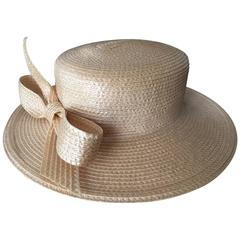 Frank Olive for Saks Fifth Avenue 1980's Straw Boater with Bow