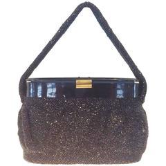 Art Deco Black aurorealis beaded bag with lucite top