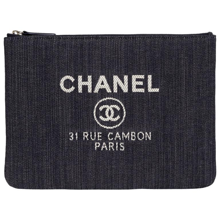 Chanel Medium Denim Zipped Clutch 1