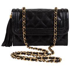Chanel Black Lizard Evening Tassel Bag