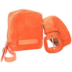 Ralph Lauren Orange Suede Belt and Clutch Set