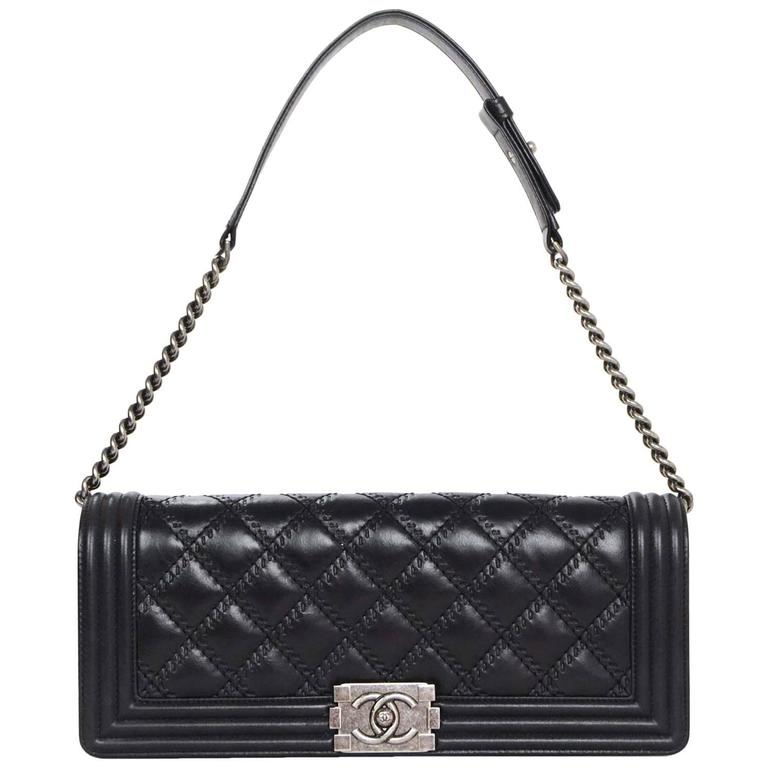 53709e1814ac0 Chanel Black Leather Quilted Long Boy Clutch Bag with Optional Shoulder  Strap For Sale