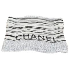Chanel Black and White Sheer Silk CC Scarf