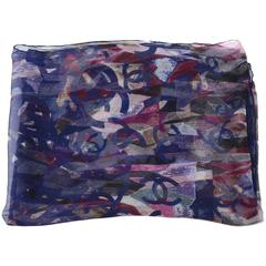 Chanel Navy and Purple Sheer CC Print Silk Scarf