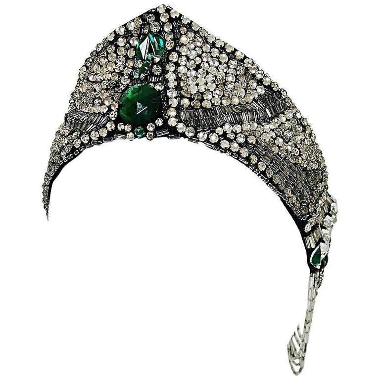 1920's Opulent Green-Jeweled Beaded Rhinestone Flapper Fringe Deco Headpiece  For Sale