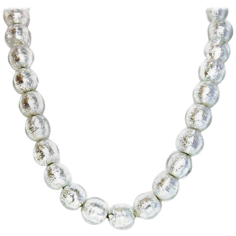 CHANEL Clear Bead & Silver Foil Necklace For Sale