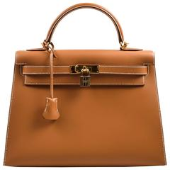 Hermes NIB Natural Tan Chamonix Leather Gold Tone Hardware Kelly 32cm Bag