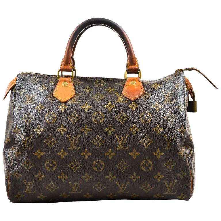 Vintage Louis Vuitton Brown Monogram Canvas Speedy 30cm Duffel Bag 1