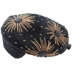 1950s Schiaparelli Black Velvet Beret with Bugle Beads and Starbursts